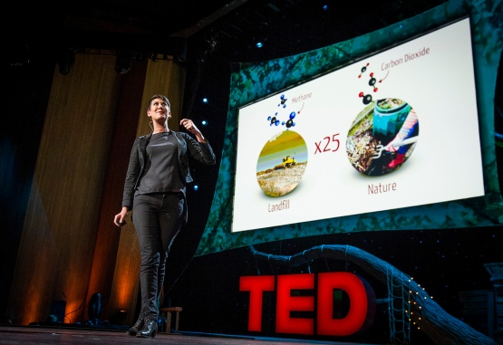 At TED2013, Leyla Acaroglu pondered the question: Paper or plastic? Below, play her sustainability card game. Photo: James Duncan Davidson